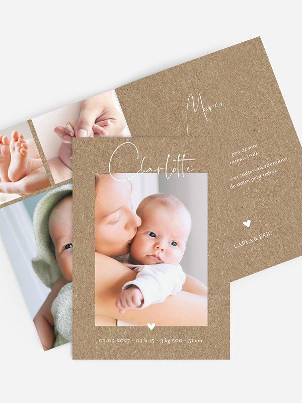 Faire-part naissance Hello little one papier kraft