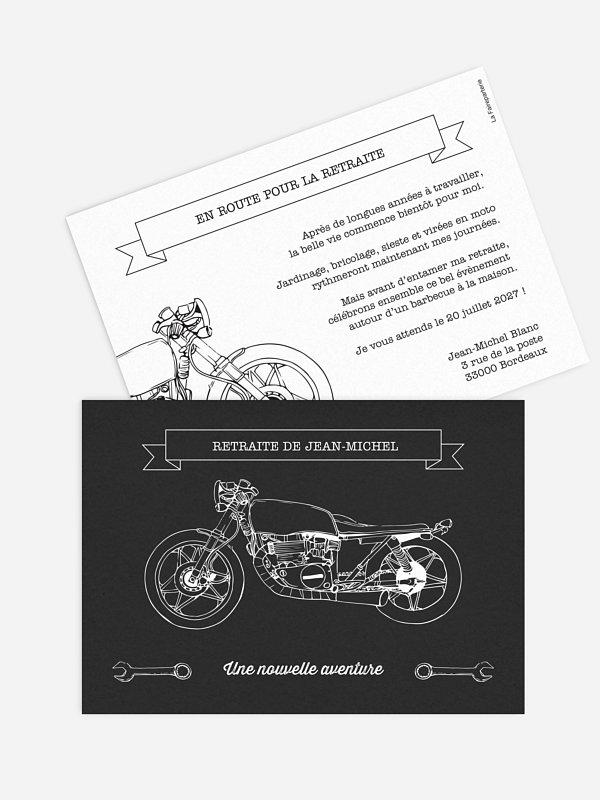 Carte invitation départ retraite Moto