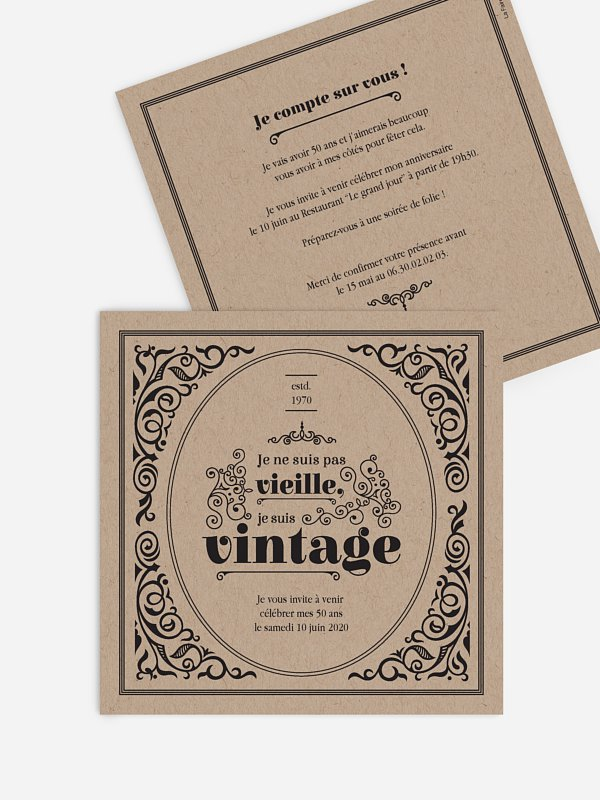 invitation anniversaire 50 Anniversaire vintage