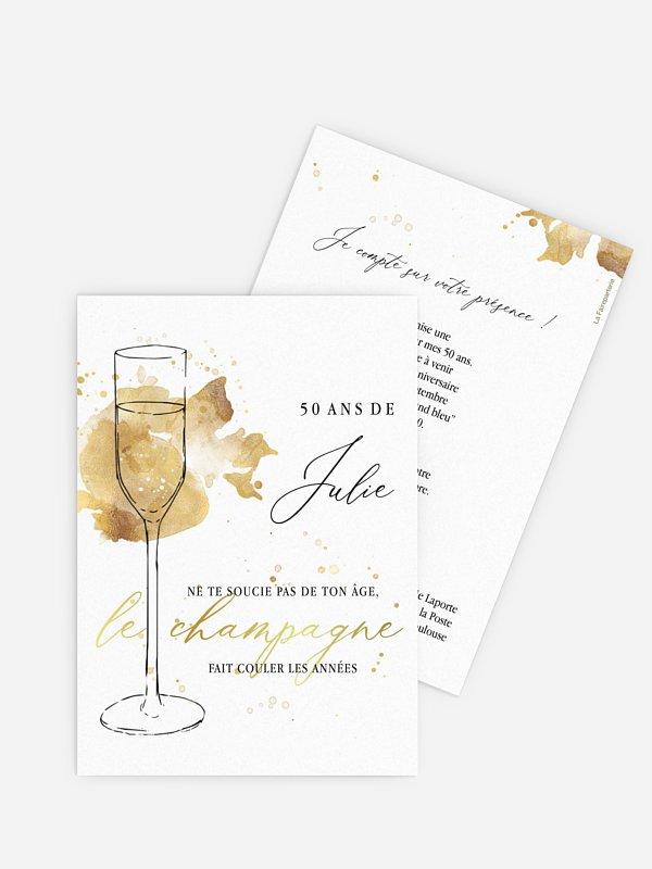 invitation anniversaire 50 Flûte à champagne