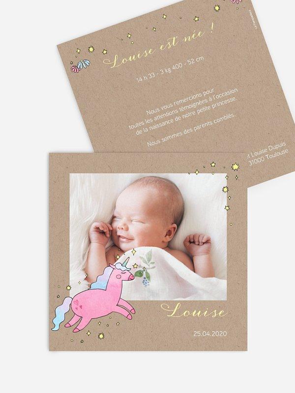 Faire-part naissance Licorne
