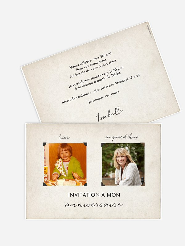 invitation anniversaire 50 Hier et aujourd'hui
