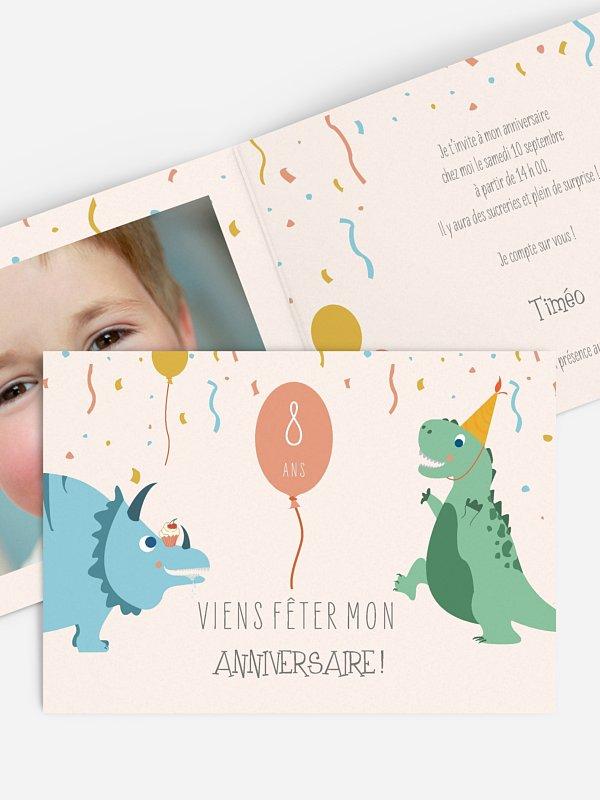 invitation anniversaire enfant Fête des Dinosaures