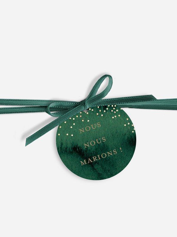 Étiquette avec ruban Aquarelle féerique