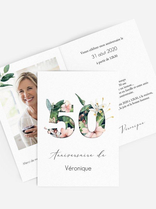 invitation anniversaire 50 Chiffres en fleur