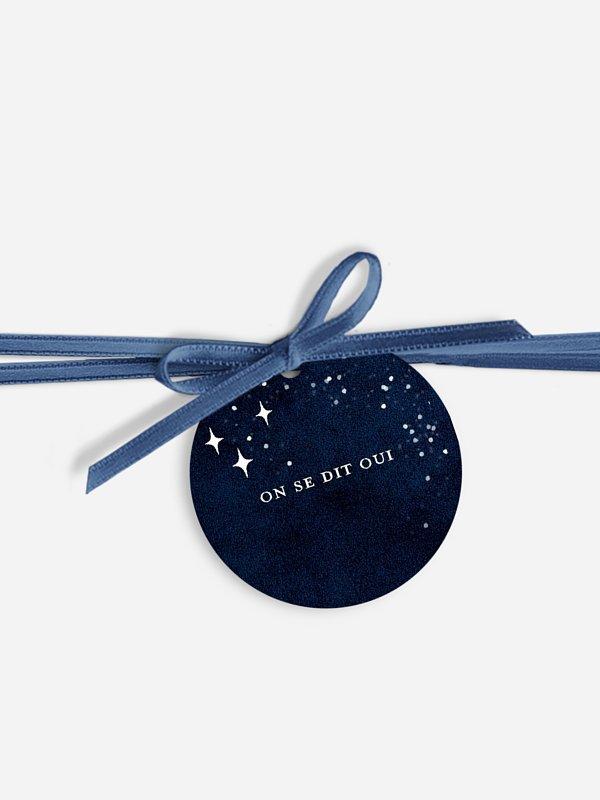 Étiquette avec ruban Ciel étoilé