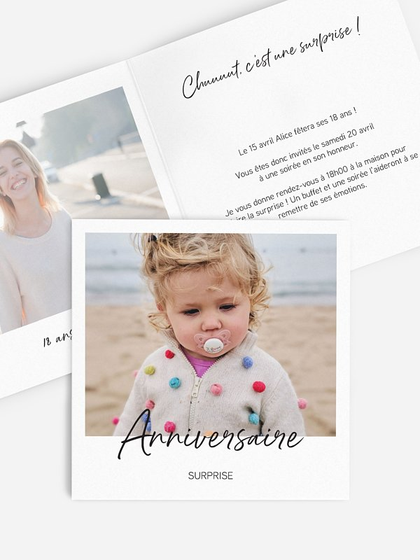 invitation anniversaire 18 Surprise party