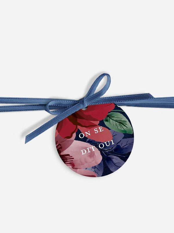 Étiquette avec ruban Cadre floral