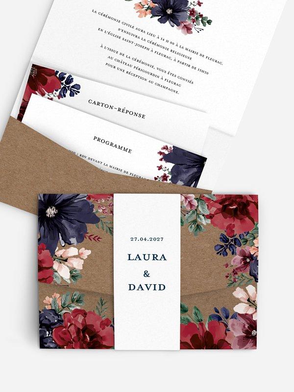 Faire-part de mariage Cadre floral