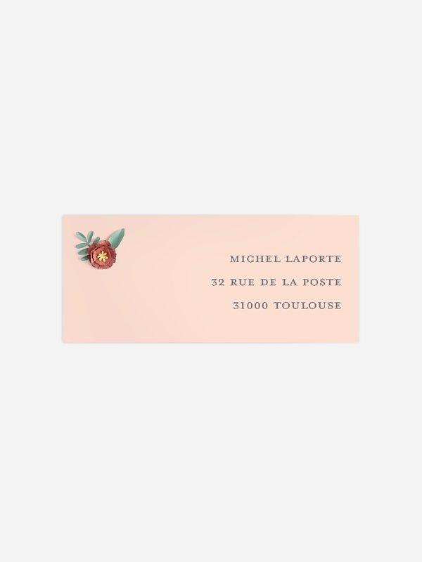 étiquette expéditeur anniversaire Nombre fleuri