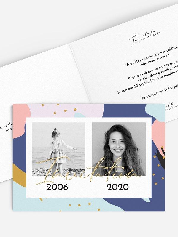 invitation anniversaire 18 Motifs colorés