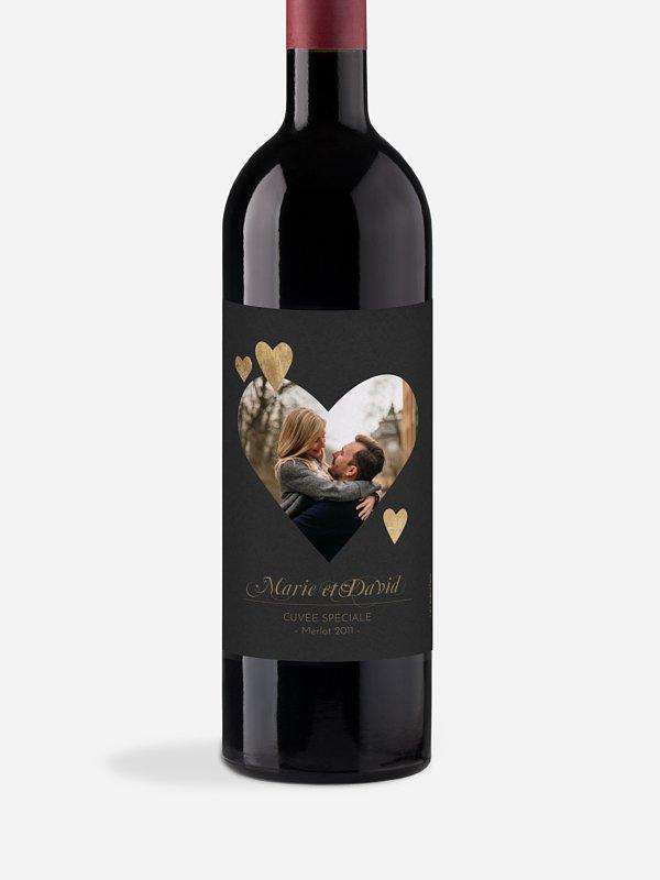 Étiquette bouteille Jolis coeurs