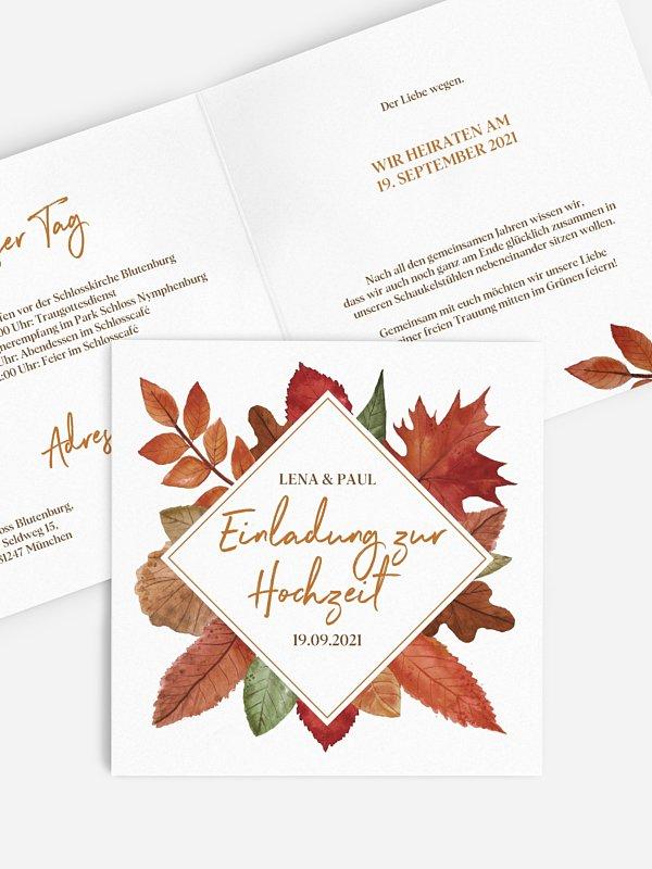 Hochzeitseinladung Herbstlaub