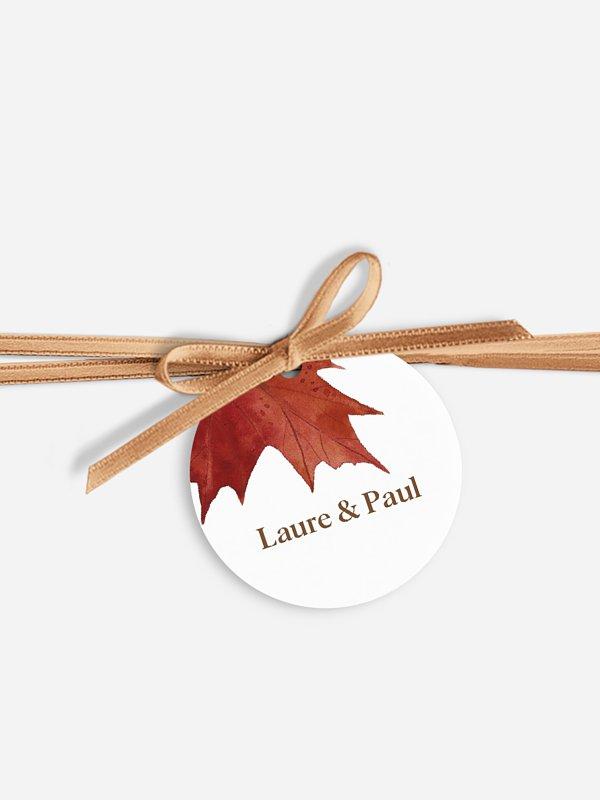 Étiquette avec ruban Forêt d'automne