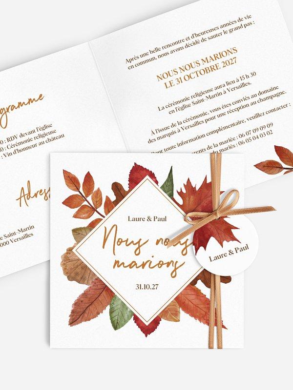 Faire-part de mariage Forêt d'automne