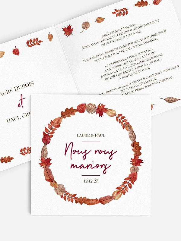 Faire-part de mariage Couronne d'automne