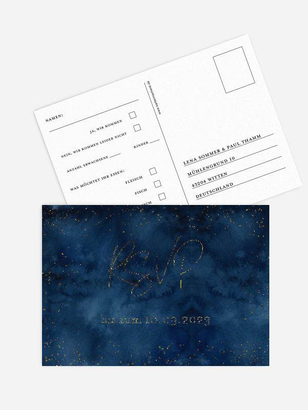 Antwortkarte Hochzeit Night Sky