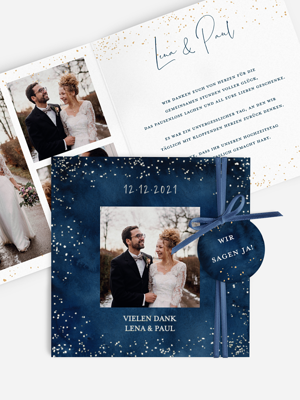 Dankeskarte Hochzeit Night Sky