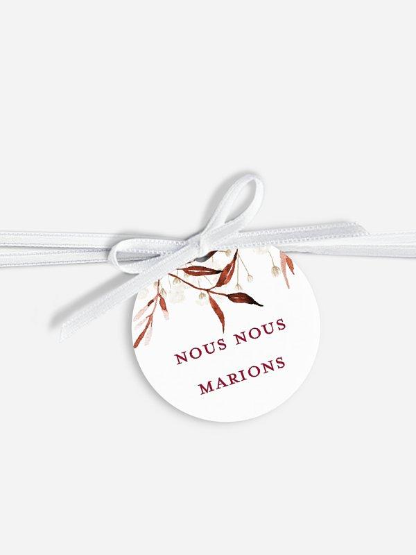 Étiquette avec ruban Douceur d'automne
