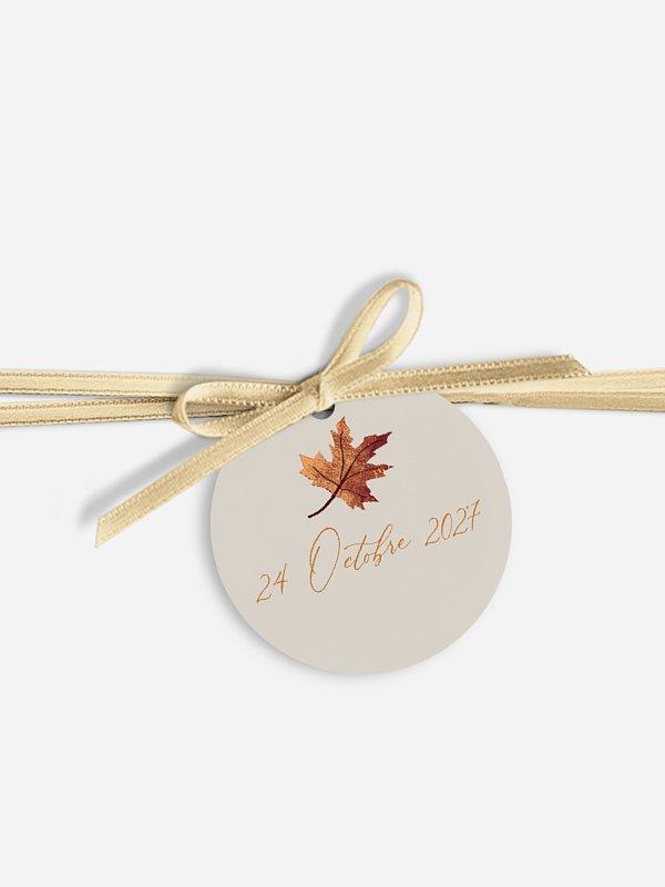 Étiquette avec ruban Brise d'automne