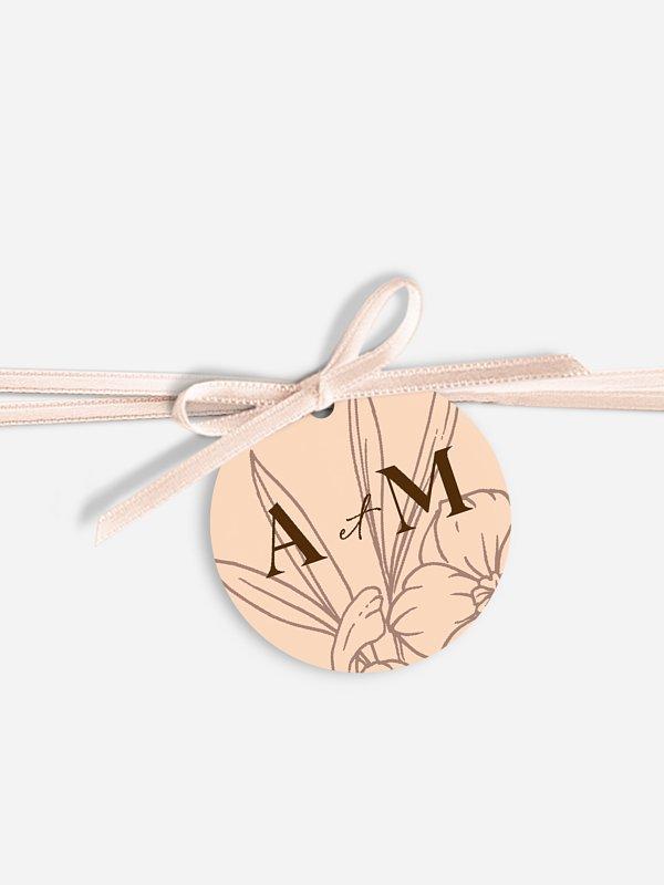 Étiquette avec ruban Bouquet d'automne