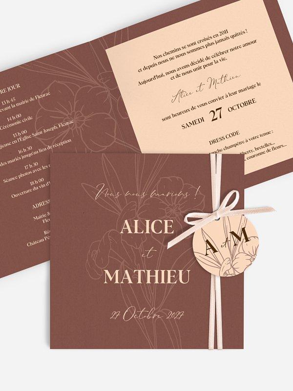 Faire-part de mariage Bouquet d'automne