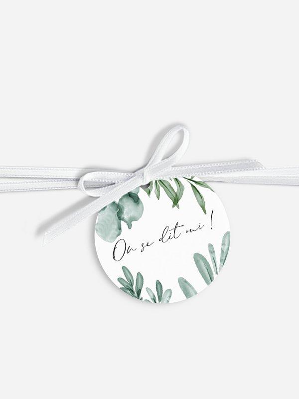 Étiquette avec ruban Fraicheur végétale