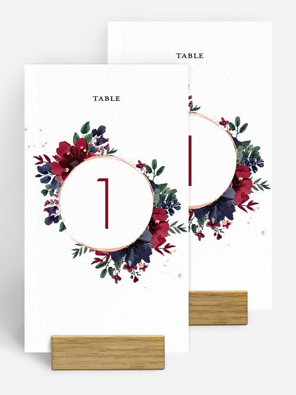 Numéro de table mariage Bouquet rouge