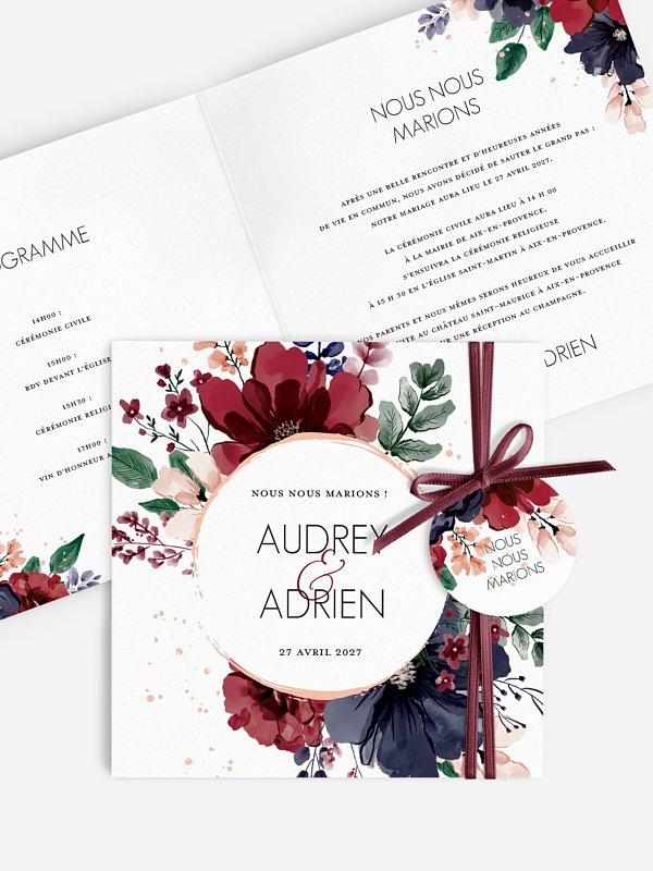 Faire-part de mariage Bouquet rouge