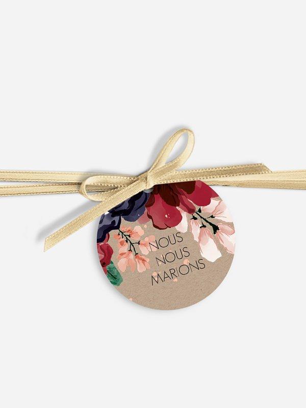 Étiquette avec ruban Bouquet rouge effet kraft