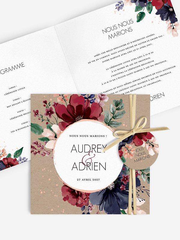 Faire-part de mariage Bouquet rouge effet kraft