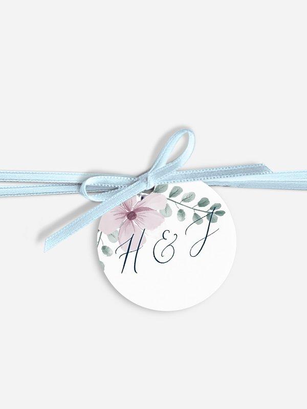 Étiquette avec ruban Songes fleuris