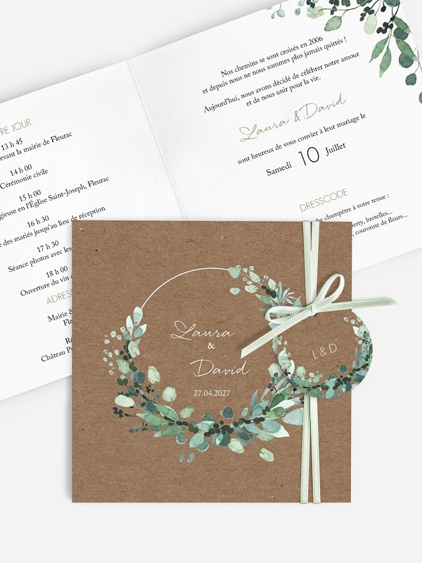Faire-part de mariage All the greenery effet kraft