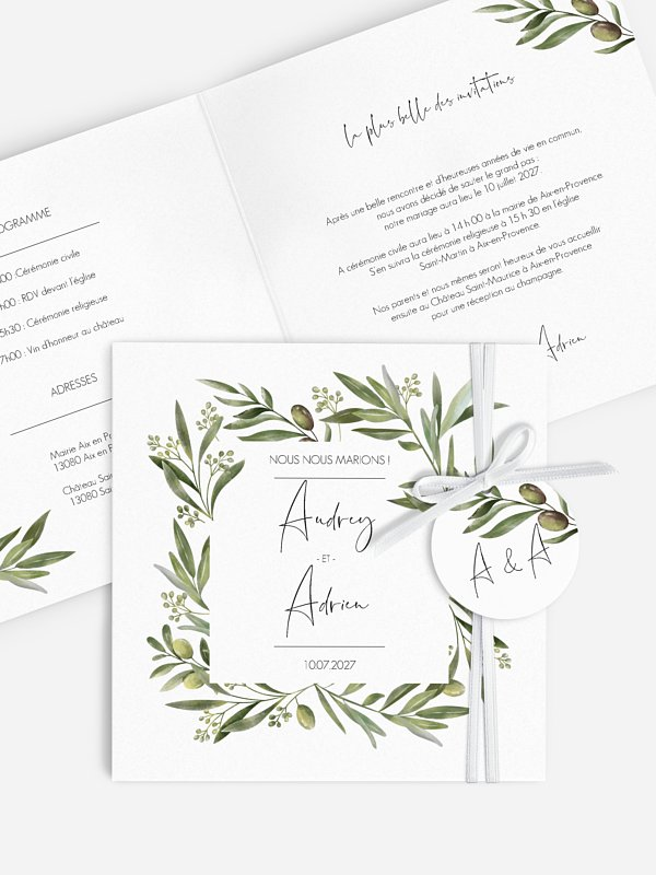 Faire-part de mariage Sweet olive