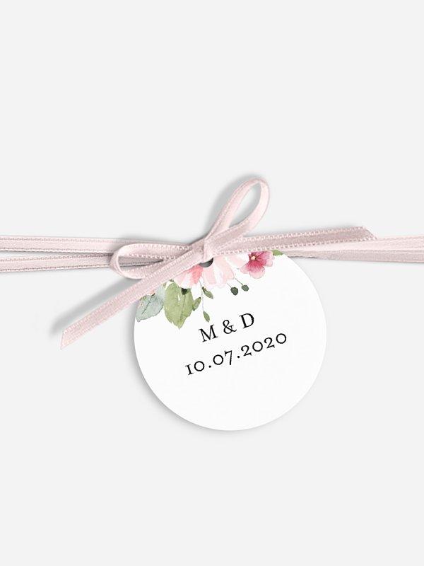 Étiquette avec ruban Couronne rosalie