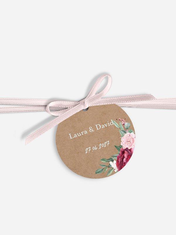 Étiquette avec ruban Rustic rose