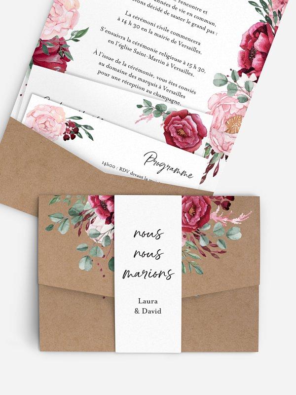 Faire-part de mariage Rustic rose