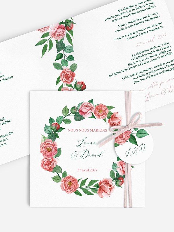 Faire-part de mariage Couronne de roses