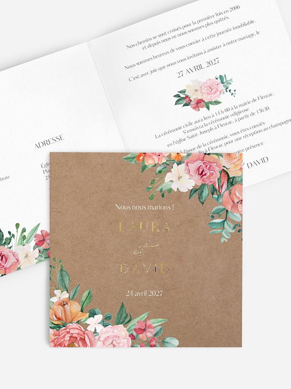 Faire-part de mariage Bouquet coloré