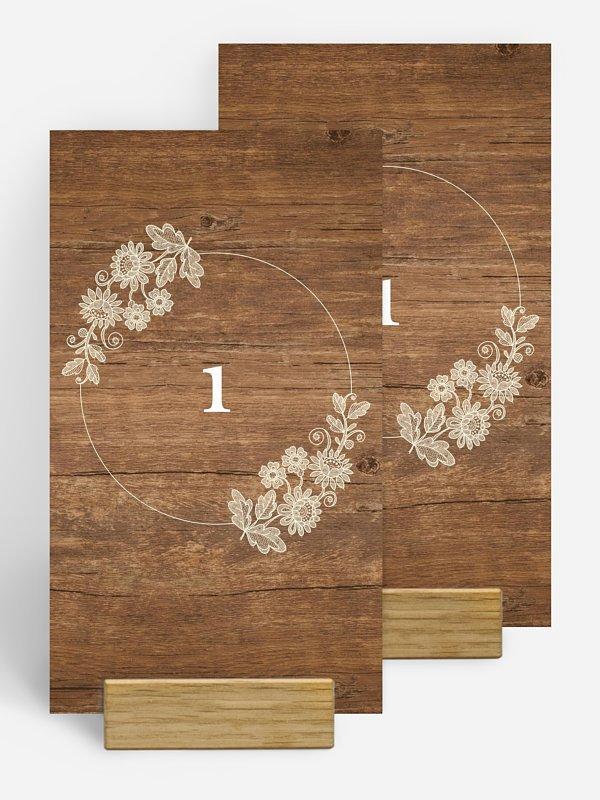 Numéro de table mariage Dentelle de bois