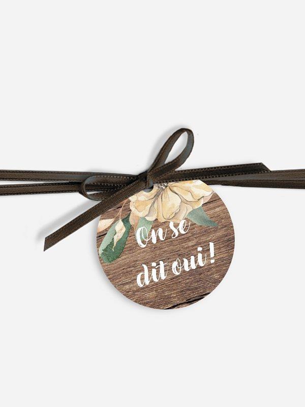 Étiquette avec ruban Fleurs champêtres