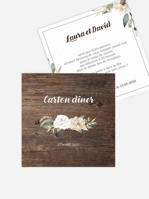 Carton d'invitation Fleurs champêtres