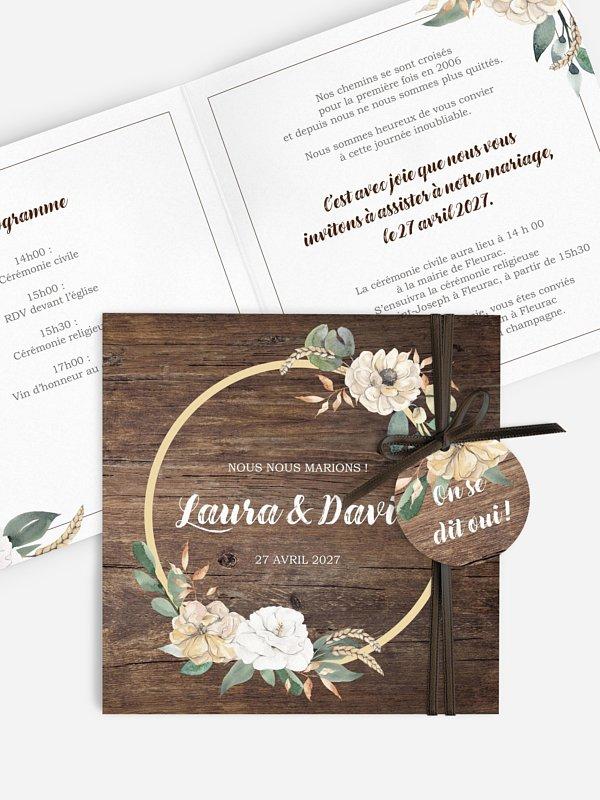 Faire-part de mariage Fleurs champêtres
