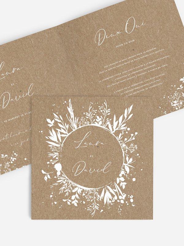 Faire-part de mariage Envolée florale papier kraft