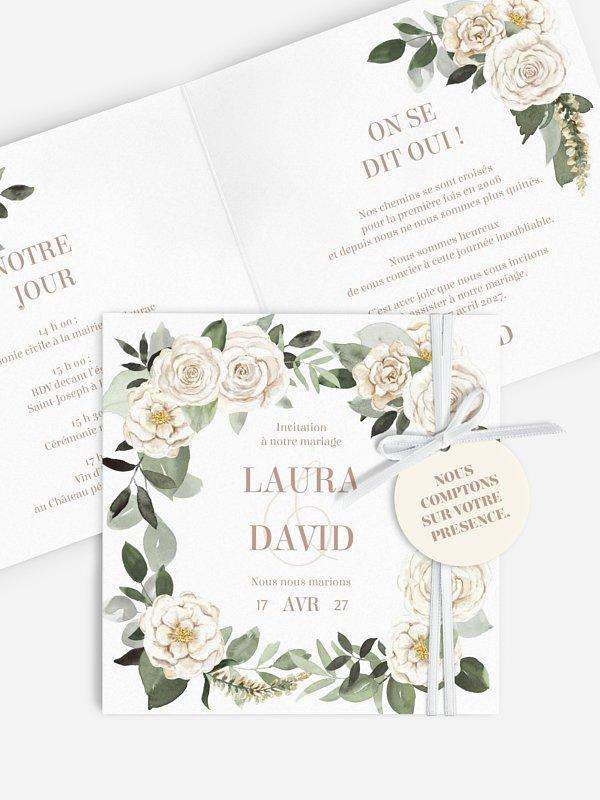 Faire-part de mariage Roses champêtres