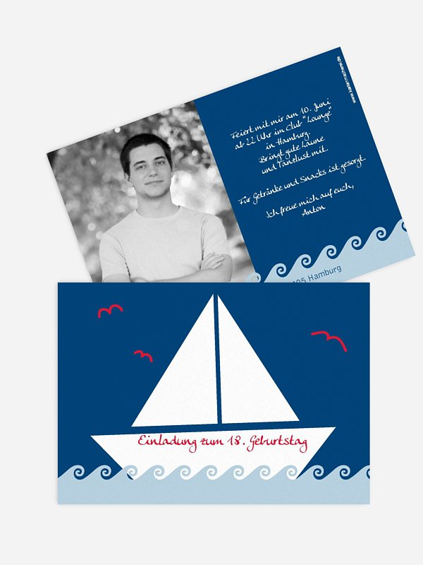Einladung 18. Geburtstag Segelboot