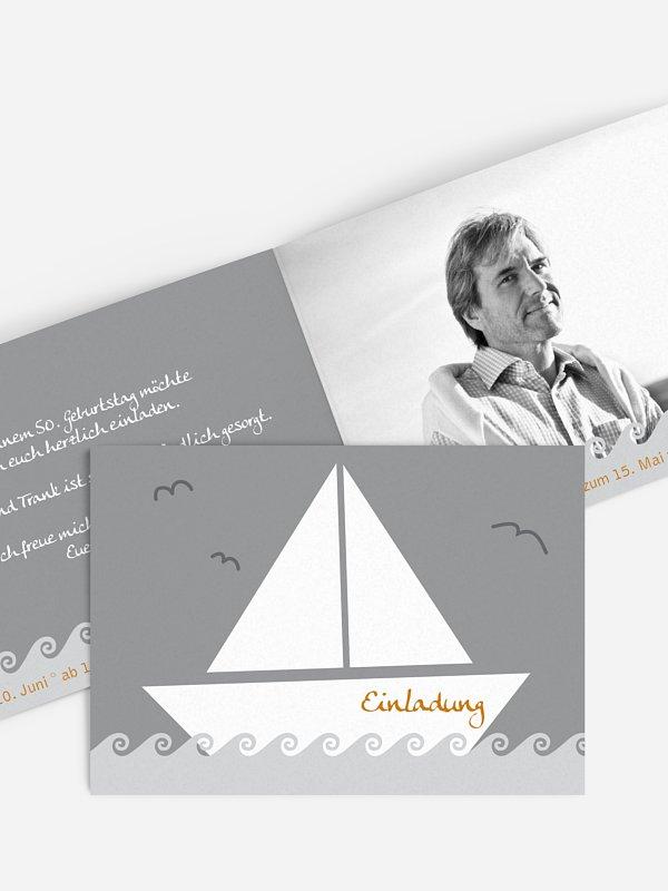 Einladung 50. Geburtstag Segelboot