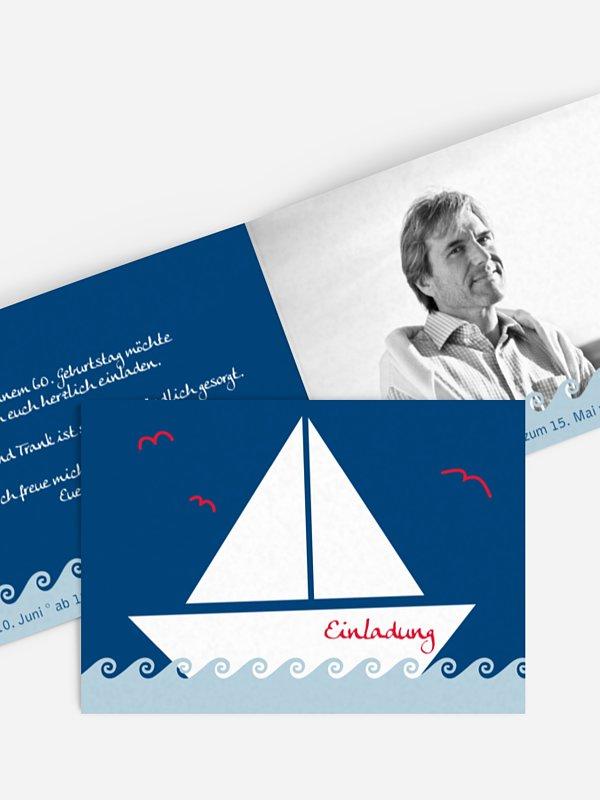Einladung 60. Geburtstag Segelboot