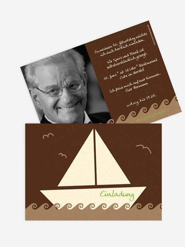 Einladung 70. Geburtstag Segelboot