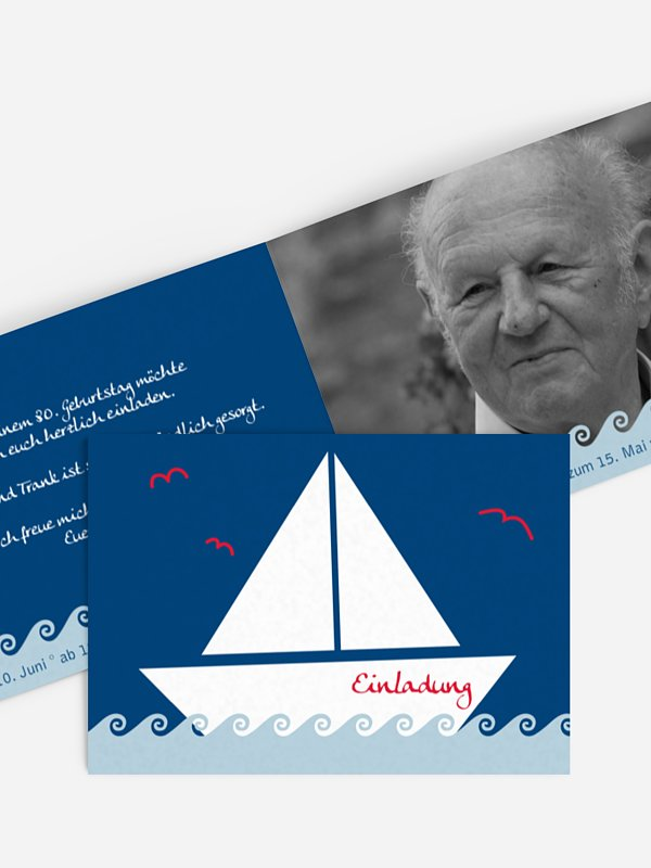 Einladung 80. Geburtstag Segelboot